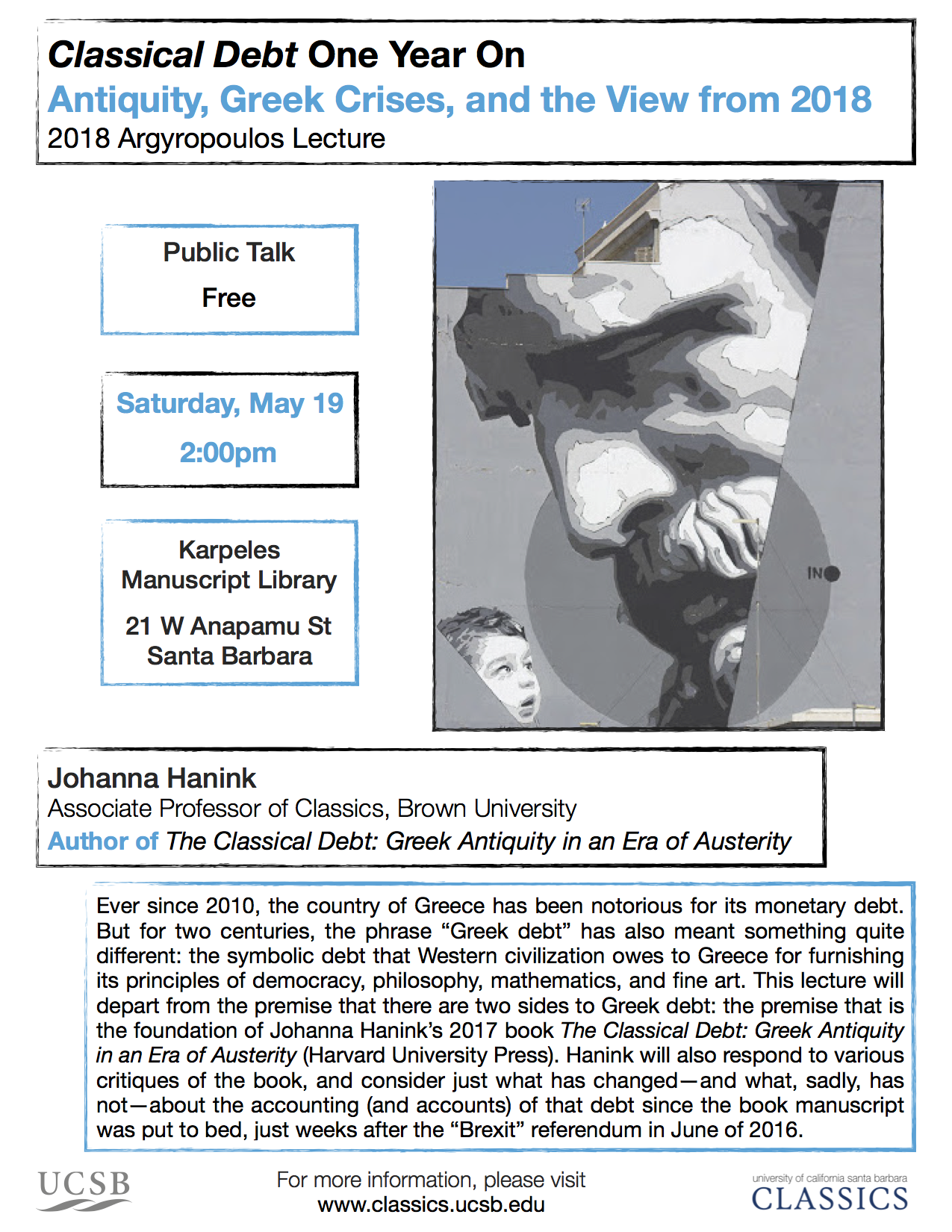 "Johanna Hanink (Brown University) ""'Classical Debt' One Year On: Antiquity, Greek Crises, and the View from 2018"" @ Karpeles Manuscript Library 