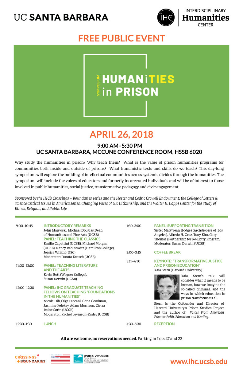 Humanities in Prison: Teaching the Classics 9:00-10:45am