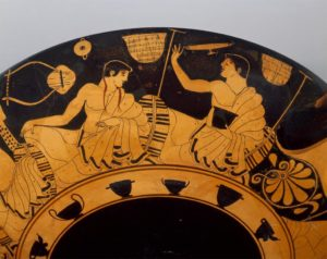"AIA Lecture:  Heather Sharpe, ""The Art of Wine Flinging:  Kylix and Kottabos at the Greek Symposium"" @ Karpeles Manuscript Library"