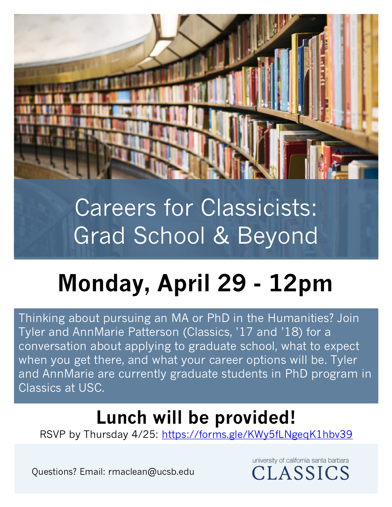 Careers for Classicists: Grad School & Beyond - A Conversation with Tyler and AnnMarie Patterson @ Classics Lounge - HSSB 4072