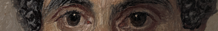 A Painting of a black haired man that has been cropped around the eyes