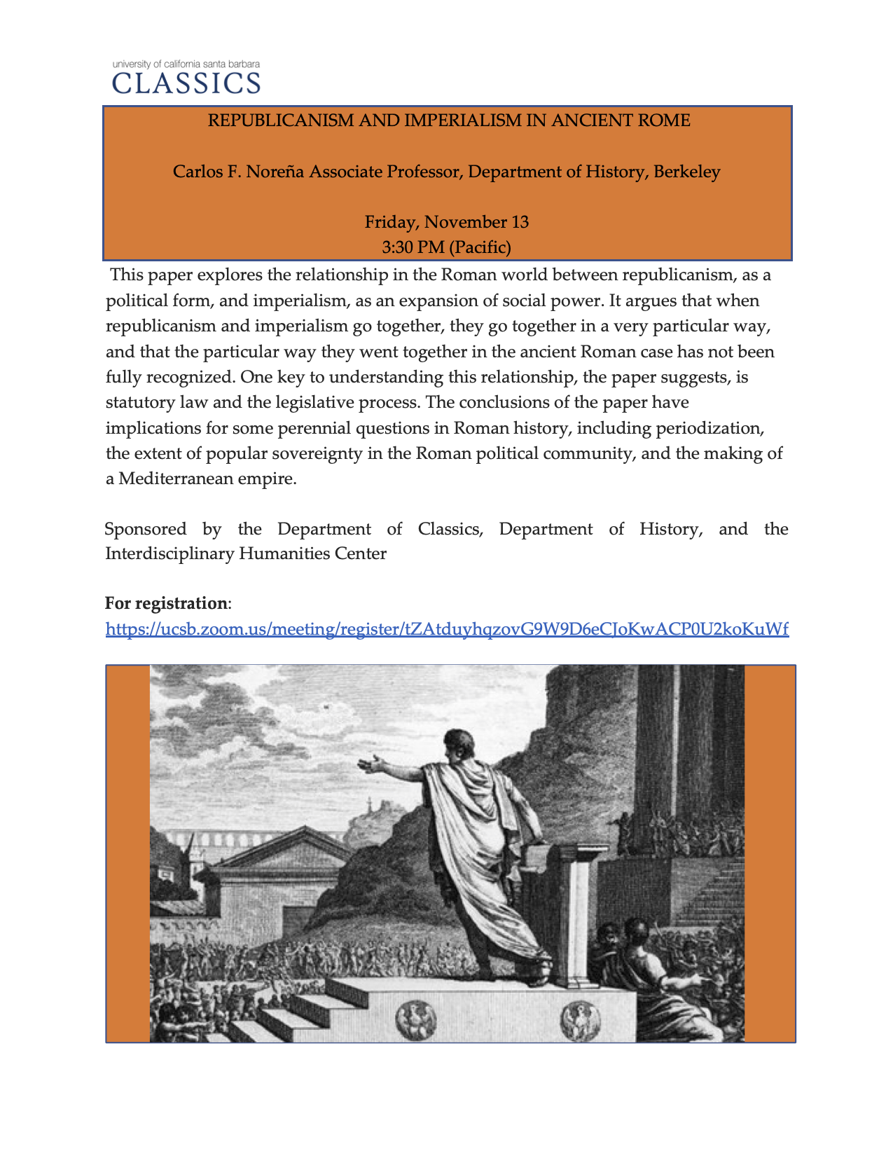 "Carlos Noreña (UC Berkeley): ""Republicanism and Imperialism in Ancient Rome"" @ Zoom meeting"