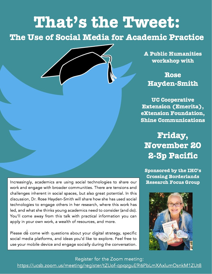 "Rose Hayden-Smyth, ""That's the Tweet: The Use of Social Media for Academic Practice"" @ Zoom meeting"