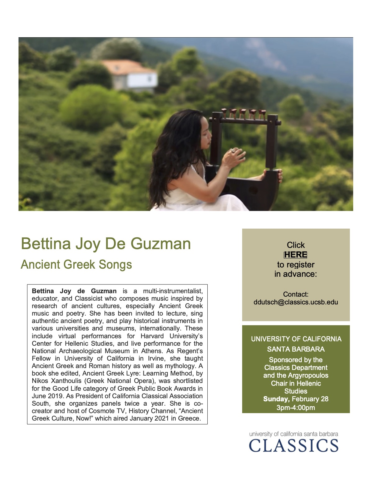 Bettina Joy de Guzman: Concert of Ancient Greek Poetry Played on a Greek Lyre