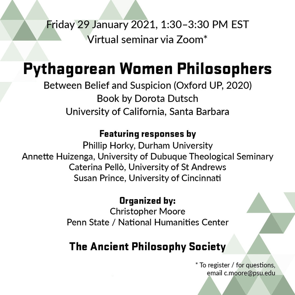 "Dorota Dutsch: ""Pythagorean Women Philosophers"""