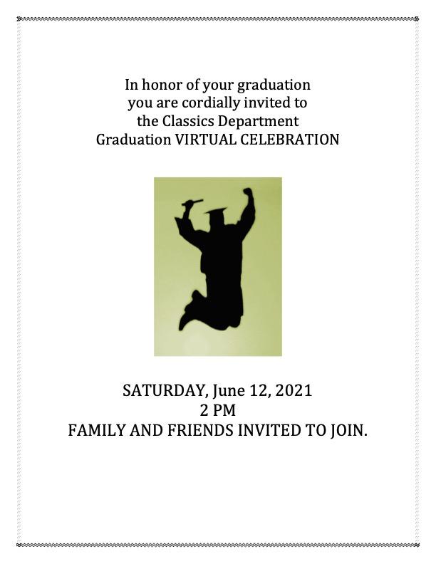 Virtual Celebration of Classics Graduates @ Zoom